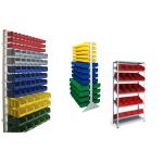 Наклонные стеллажи и стойки под пластиковые ящики